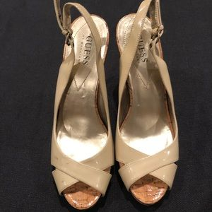 Guess beige patent sling back sandals